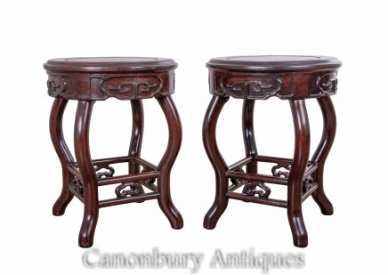 Pair Antique Chinese Urn Tables - Pedestal Stands Circa 1920
