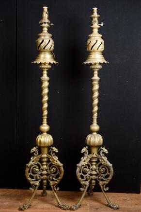 Pair Antique Floor Lamps - French Empire Bronze Circa 1880