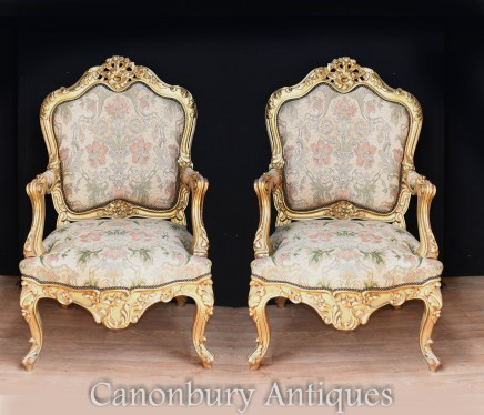 Pair Antique Gilt Arm Chairs - French Empire