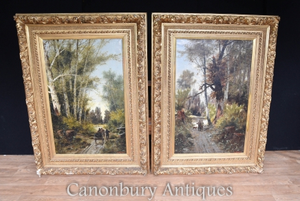 Pair Antique Italian Landscape Oil Paintings Signed C.Avagano