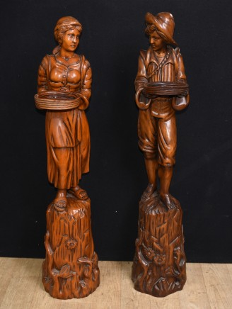Pair Antique Italian Walnut Carved Figures Stands 1890