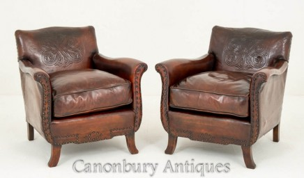 Pair Antique Leather Club Chairs French Circa 1900