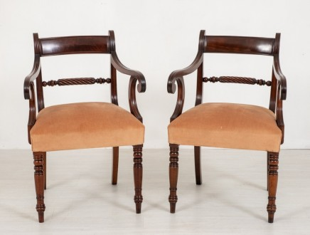 Pair Antique Regency Arm Chairs Mahogany 19th Century