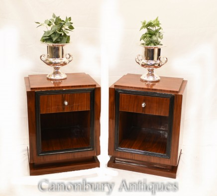 Pair Art Deco Bedside Chests - Cabinets Nightstands