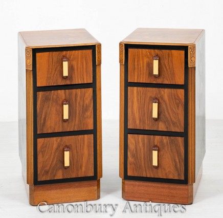 Pair Art Deco Bedside Chests Cabinets Vintage Nightstands 1930
