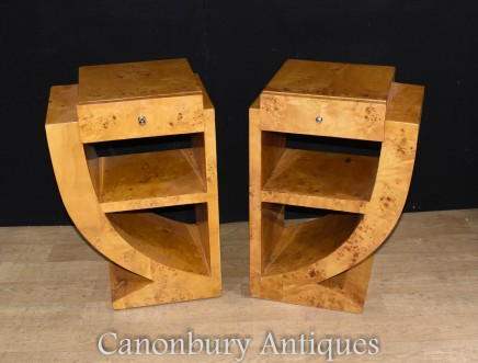 Pair Art Deco Bedside Tables Chests Nightstands 1920s Furniture