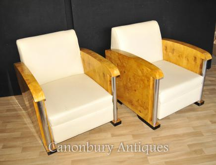 Pair Art Deco Box Club Chairs Arm Chair Chrome