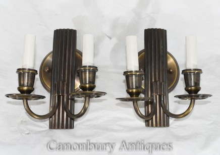 Pair Art Deco Bronze Sconces - Wall Lights