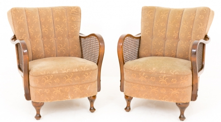 Pair Art Deco Club Arm Chairs Sofa Seats