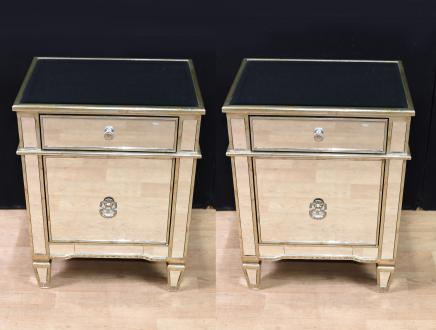 Pair Art Deco Mirrored Bedside Cabinets Nighstands