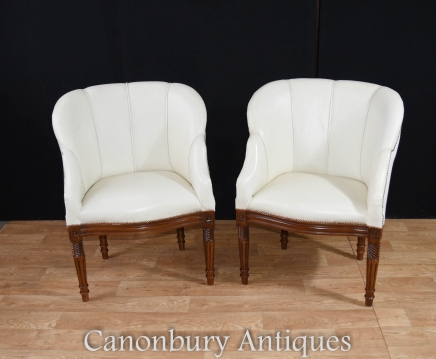 Pair Art Deco Arm Chairs  - Shell Club Chair Seats