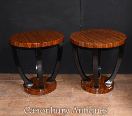 Pair Art Deco Side Tables Rosewood and Ebony