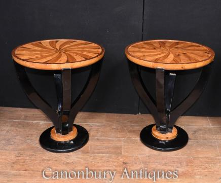 Pair Art Deco Side Tables Spiral Inlay