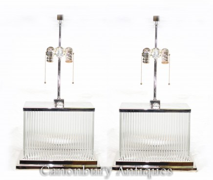 Pair Art Deco Table Lights - Nickel Lamps