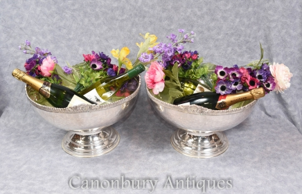 Pair Art Nouveau Silver Plate Bowls Urns Punch Bowl Champagne Wine Bucket