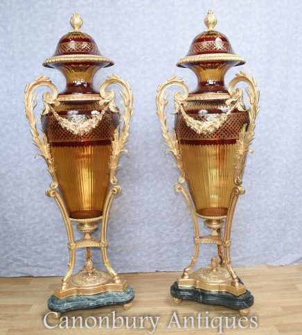 Pair Big French Cut Glass Amphora Urns Vases Louis XVI