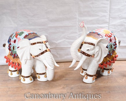 Pair Big Porcelain Elephants Chinese Export