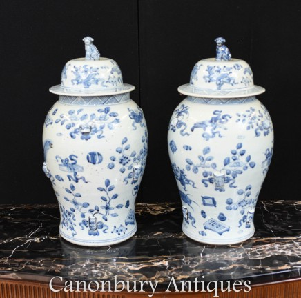 Pair Blue and White Chinese Porcelain Urns - Lidded Jars Vases