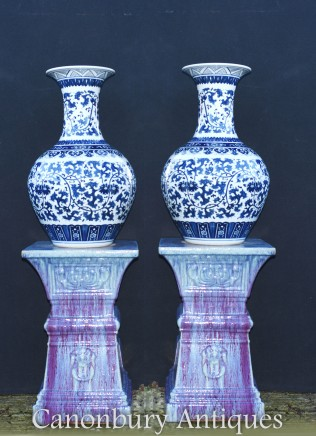 Pair Blue and White Chinese Porcelain Vases - Ming Shanping Form Urns