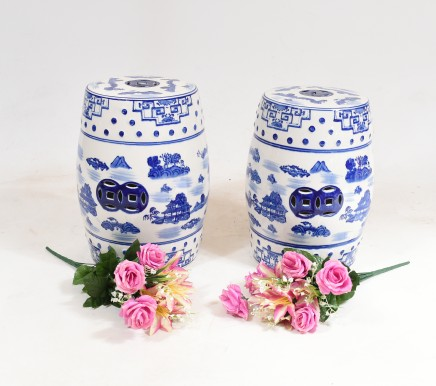 Pair Blue and White Porcelain Stools Chinese Ming Pottery Urns