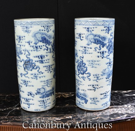 Pair Blue and White Porcelain Urns - Ming Vases