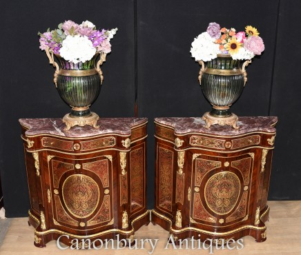 Pair Boulle Cabinets - French Inlay Chests Credenza