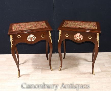 Pair Boulle Inlay Side Tables Cocktail Table French Furniture