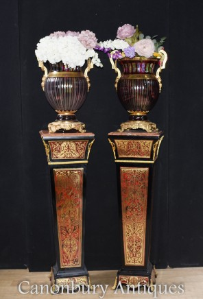 Pair Boulle Pedestal Stand Tables - Louis XVI Inlay