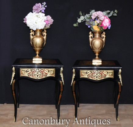 Pair Boulle Side Tables - Lacquer Inlay Cocktail Table