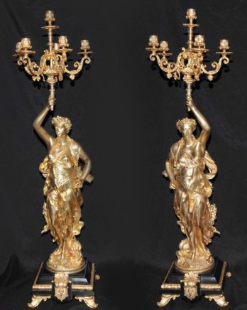 Pair Bronze Candelabras Signed Gregoire French Torcheres