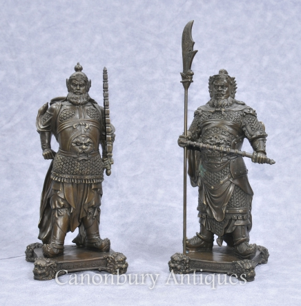 Pair Bronze Japanese Samurai Warrior Statues Military Art