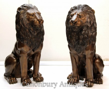 Pair Bronze Lion Gatekeeper Statues - Large Cat Castings