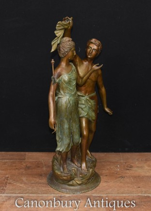 Pair Bronze Lovers - Large Classical Italian Male Female Statue