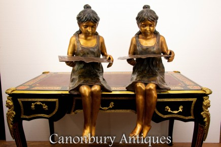 Pair Bronze Seated Reading Girl Statues - Child Sculpture Lifesize