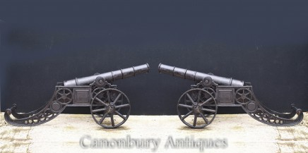 Pair Cast Iron Cannons - Architectural Salvage