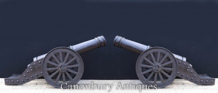 Pair Cast Iron Cannons - English Military Artillery Guns