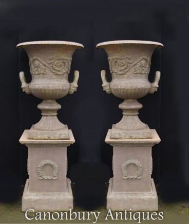 Pair Cast Iron Garden Urns Campana English Pedestal