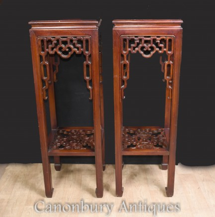 Pair Chinese Antique Pedestal Stands Side Tables