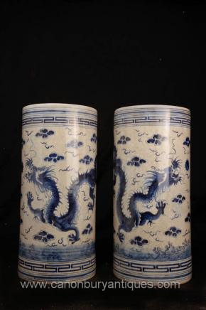 Pair Chinese Blue and White Porcelain Dragon Vases Umbrella Stands