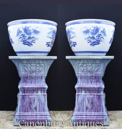 Pair Chinese Blue and White Porcelain Planters Pots - Ming