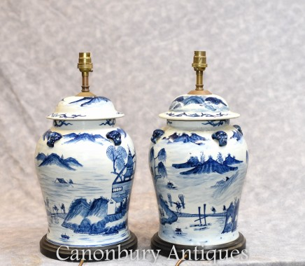 Pair Chinese Blue and White Porcelain Table Lamps - Kangxi Ginger Urn Lights