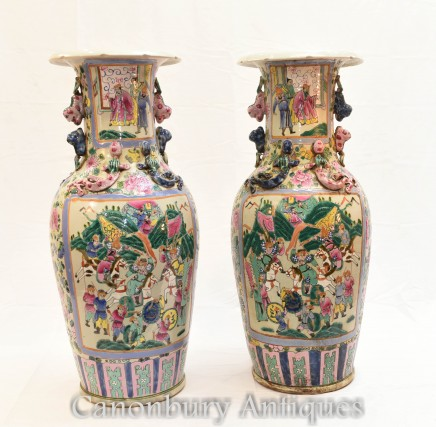 Pair Chinese Canton Vases - Cantonese Urns