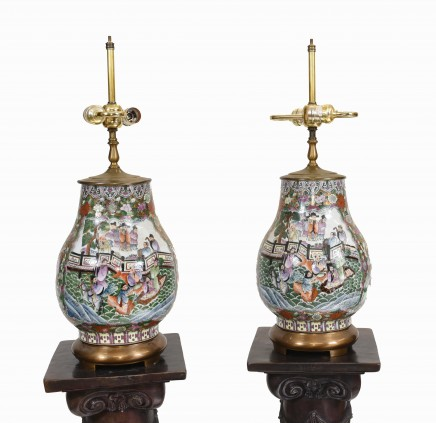 Pair Chinese Cantonese Table Lamps China Porcelain Lights
