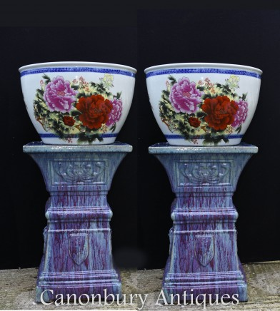 Pair Chinese Fish Bowl Porcelain Planter Pots
