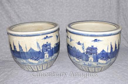 Pair Chinese Kangxi Porcelain Blue and White Planters Pots