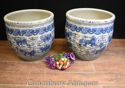 Pair Chinese Ming Planters - Blue and White Porcelain Urns