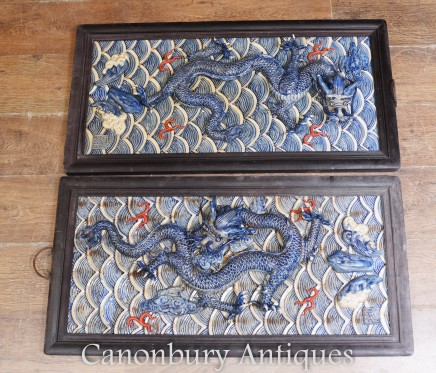 Pair Chinese Porcelain Dragon Plaques - Blue and White Relief Wall Hangings Kangxi