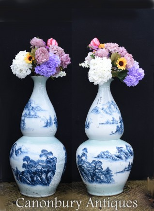 Pair Chinese Porcelain Ming Vases - Blue and White Double Gourd Urns