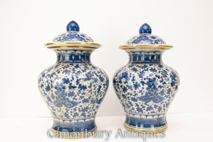 Pair Chinese Porcelain Painted Vases - Ming Pottery Blue and White