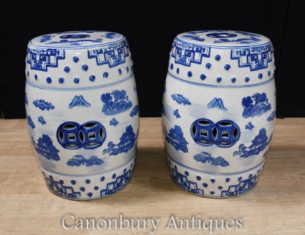 Pair Chinese Porcelain Stools - Ming Blue and White Urn
